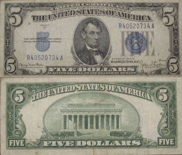 Five Dollar Bill Silver Certificate Series 1934 D Circulated