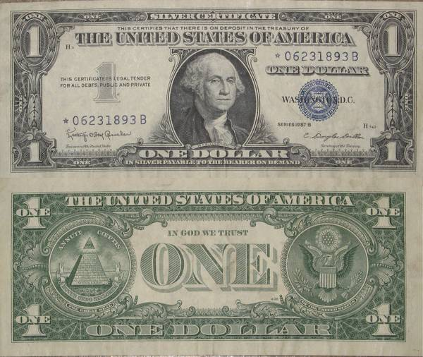 One Dollar Bill Silver Certificate Series 1957 B Star Note - My Coin ...