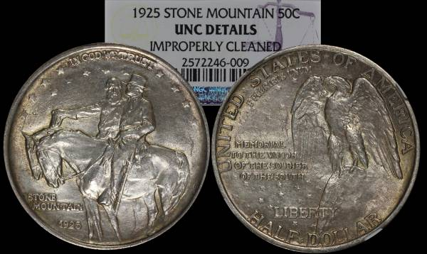 1925 Stone Mountain 50 cent Commemorative NGC Improperly Cleaned 2572246-00