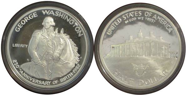 George Washington Silver Commemorative Half Dollar 250th Anniversary Proof