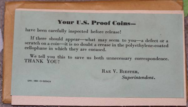 1959 United States Proof Set 2 Mint Message