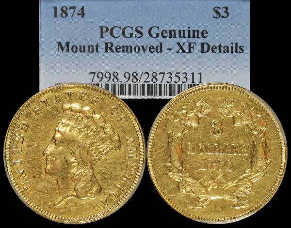 1874 Indian Princess 3 Dollar Gold PCGS XF Details 28735311