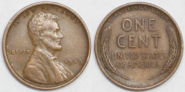 1909 P VDB Lincoln Cent XF40