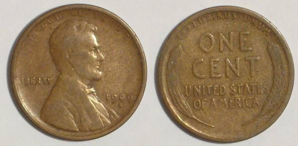 1909 S Lincoln Cent PCGS F12