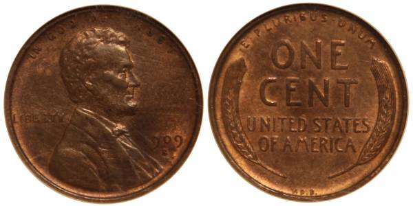 1909 S VDB Lincoln Cent ANACS MS63 RB