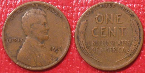 1911 S Lincoln Cent VG8 but with detracting cut