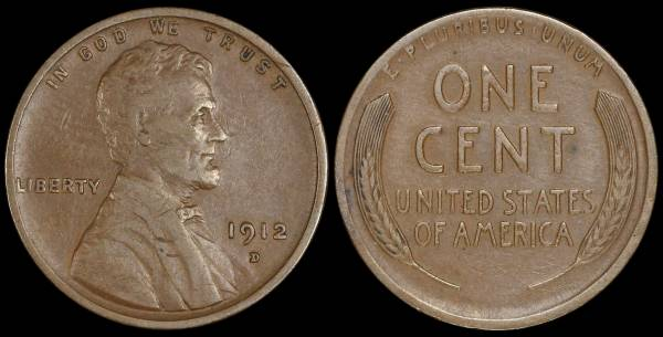1912 D Lincoln Cent VF20