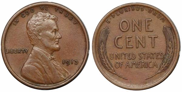 1913 P Lincoln Cent XF
