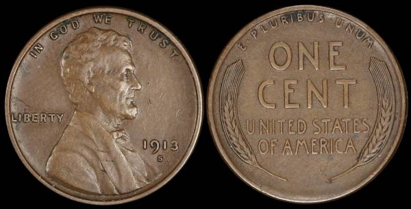 1913 S Lincoln Cent VF30