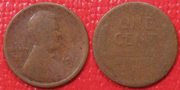 1915 S Lincoln Cent P01 lots of damage