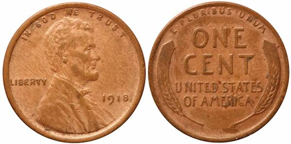 1918 P Lincoln Cent XF
