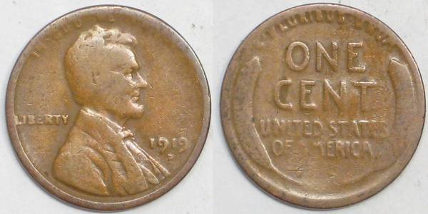 1919 D Lincoln Cent AG3