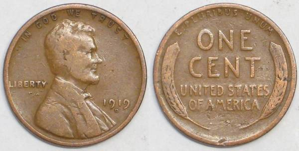1919 D Lincoln Cent VG8