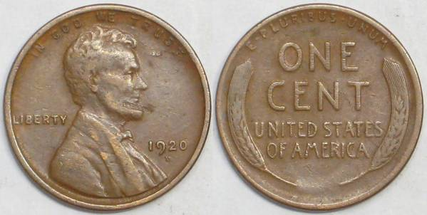 1920 D Lincoln Cent F12 with Damage
