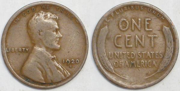 1920 D Lincoln Cent VG08