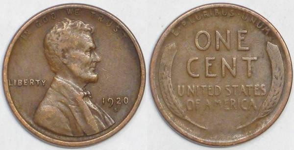 1920 S Lincoln Cent VG8
