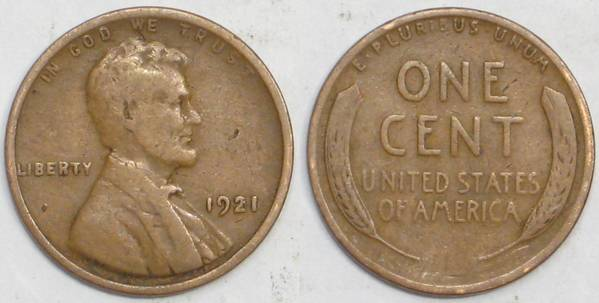 1921 P Lincoln Cent VG08