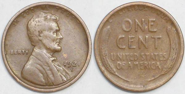 1921 S Lincoln Cent VG10