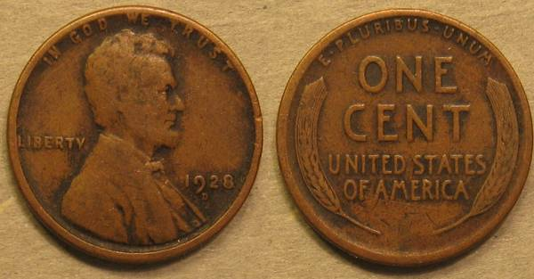 1928 D Lincoln Cent F12 with dirt