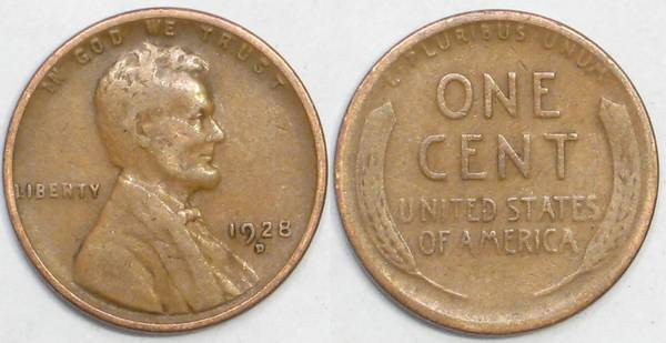 1928 D Lincoln Cent VG8