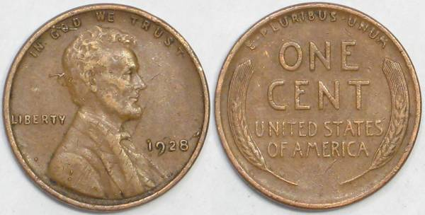 1928 P Lincoln Cent VF20 Details