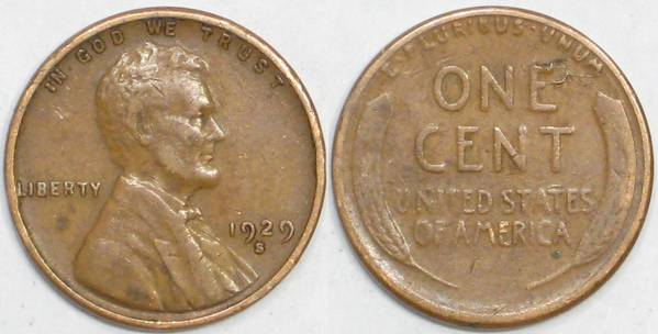 1929 S Lincoln Cent VG8