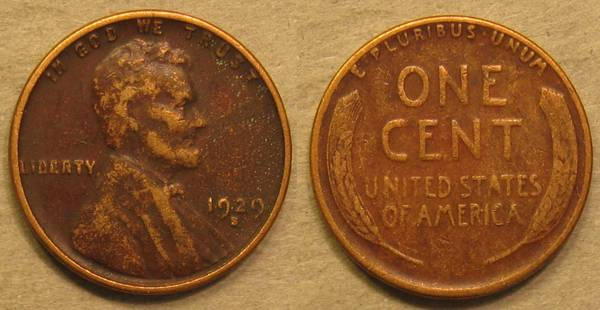 1929 S Lincoln Cent VG8 Details but ugly damage