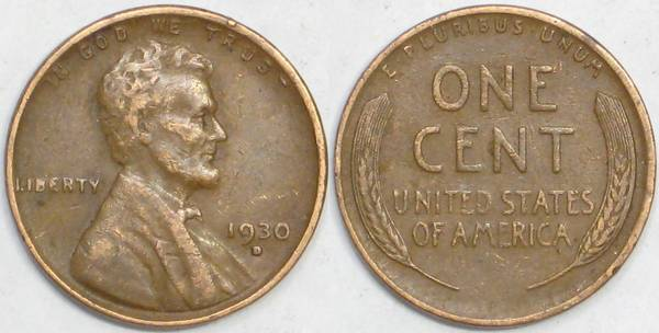1930 D Lincoln Cent VF20