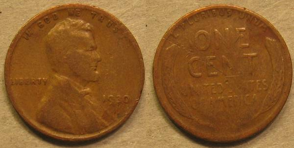 1930 P Lincoln Cent G6 with damage on reverse