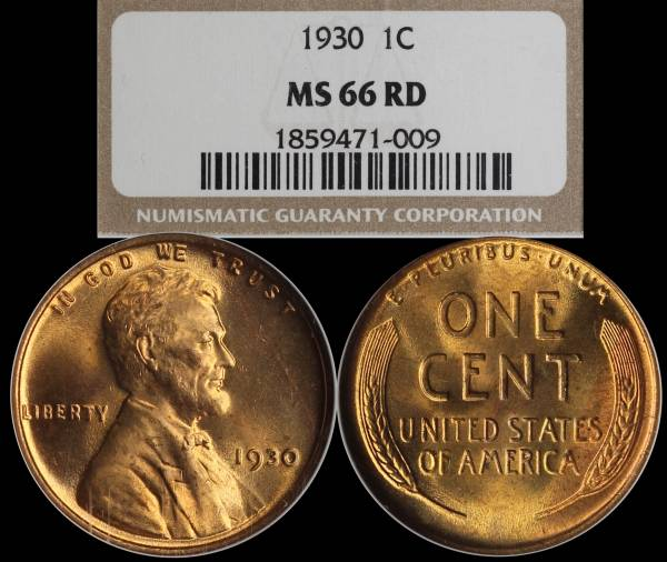 1930 P Lincoln Wheat Cent NGC MS66 RED 1859471-009