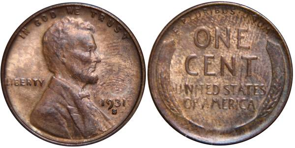 1931 S Lincoln Cent with fingerprints