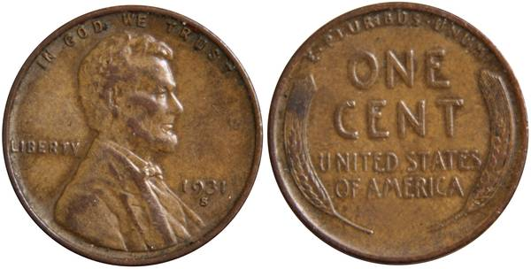 1931 S Lincoln Cent VF Details
