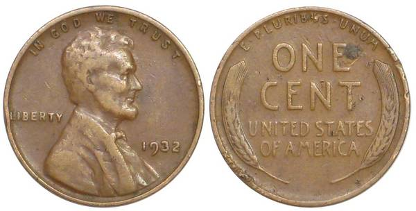 1932 P Lincoln Cent F12 Details