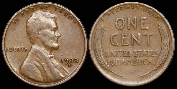 1933 D Lincoln Cent VF black background
