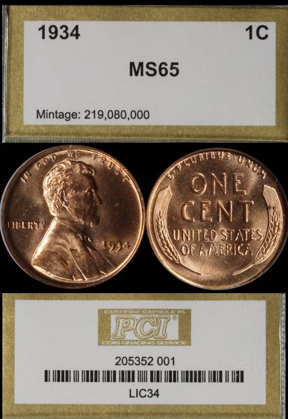 1934 P Lincoln Cent PCI MS65 RED 205352-001 display