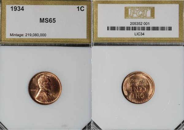 1934 P Lincoln Cent PCI MS65 RED 205352-001 slab