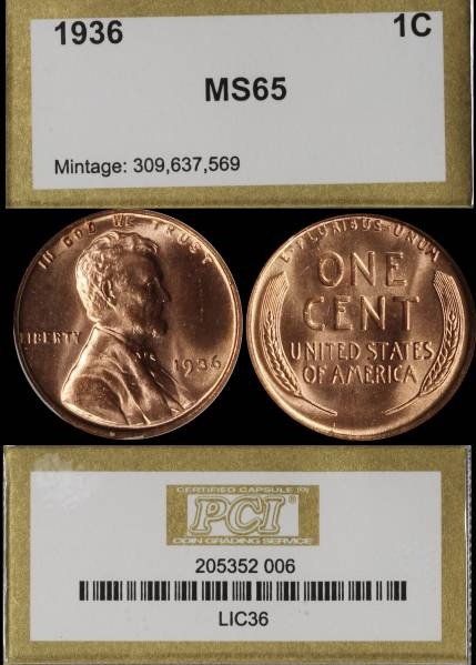 1936 P Lincoln Cent PCI MS65 RED 205352-001 slab