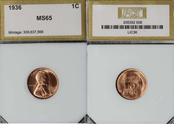 1936 P Lincoln Cent PCI MS65 RED 205352-006 slab