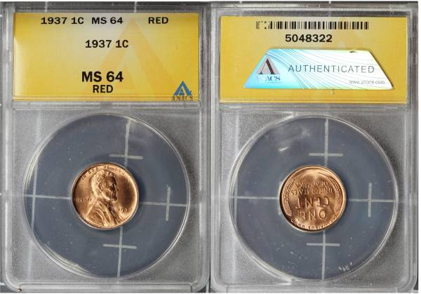 1937 P Lincoln Cent ANACS MS64 RED 5048322 slab