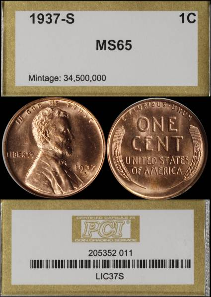1937 S Lincoln Cent PCI MS65 RED 205352-011 display