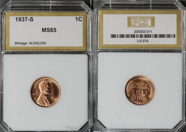 1937 S Lincoln Cent PCI MS65 RED 205352-011 slab