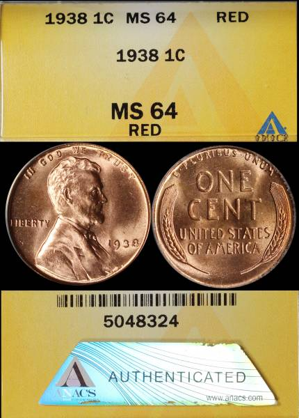 1938 P Lincoln Cent ANACS MS64 RED 5048324 display