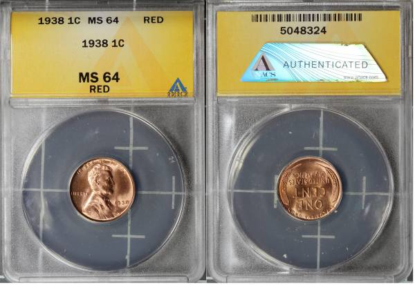 1938 P Lincoln Cent ANACS MS64 RED 5048324 slab