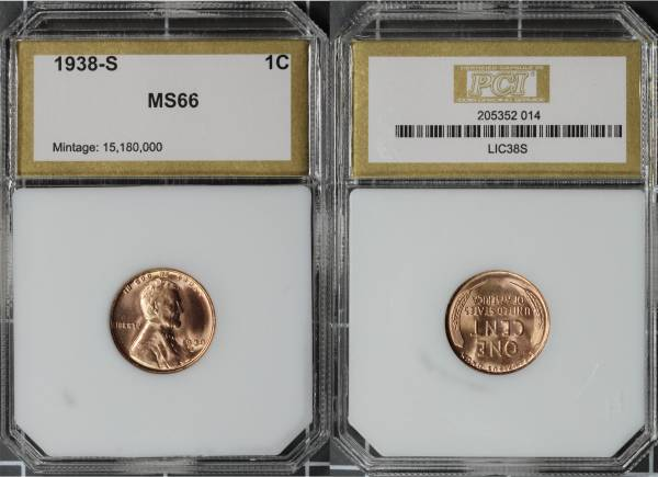 1938 S Lincoln Cent PCI MS66 RED 205352-014 slab