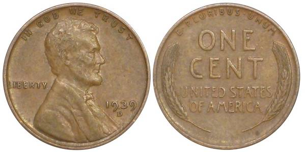 1939 D Lincoln Cent XF40
