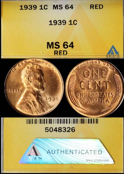 1939 P Lincoln Cent ANACS MS64 RED 5048326 display