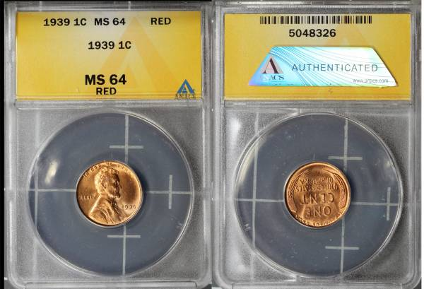 1939 P Lincoln Cent ANACS MS64 RED 5048326 slab