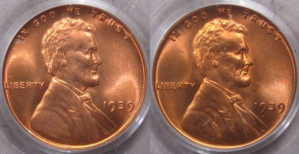 two 1939 Lincoln Cents side by side