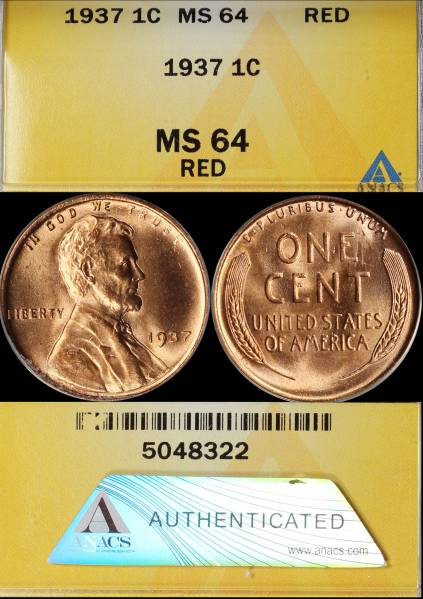 1937 P Lincoln Cent ANACS MS64 RED 5048322 display