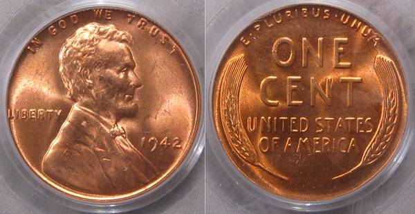 1942 P Lincoln Cent MS66 RED PCGS